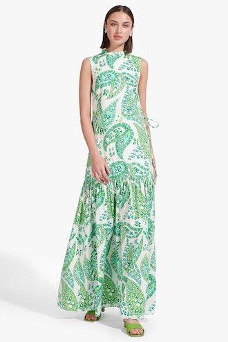 ZO DRESS   LIGHT GREEN BUTTERFLY PAISLEY