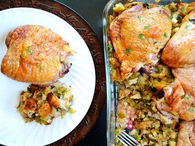 Turkey stuffing casserole turns thanksgiving dinner into one big dish.
