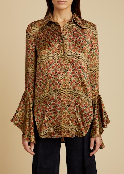 The Lottie Top in Red Paisley