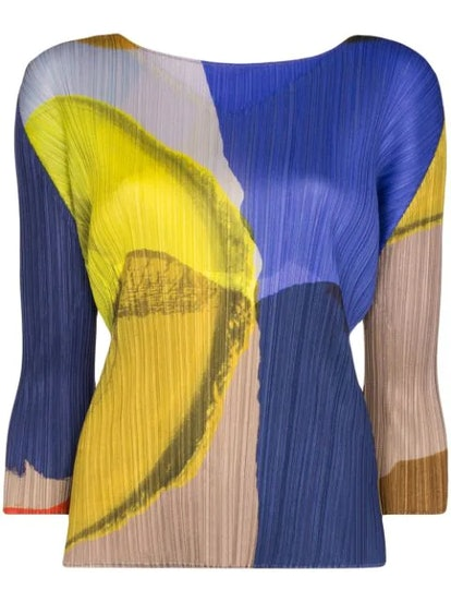 Energetic Abstract-Print Plissé Top
