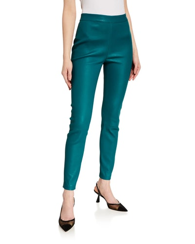Claudia Leather Pull-On Pants