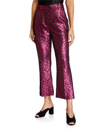 Madden Metallic Leopard-Print Pants