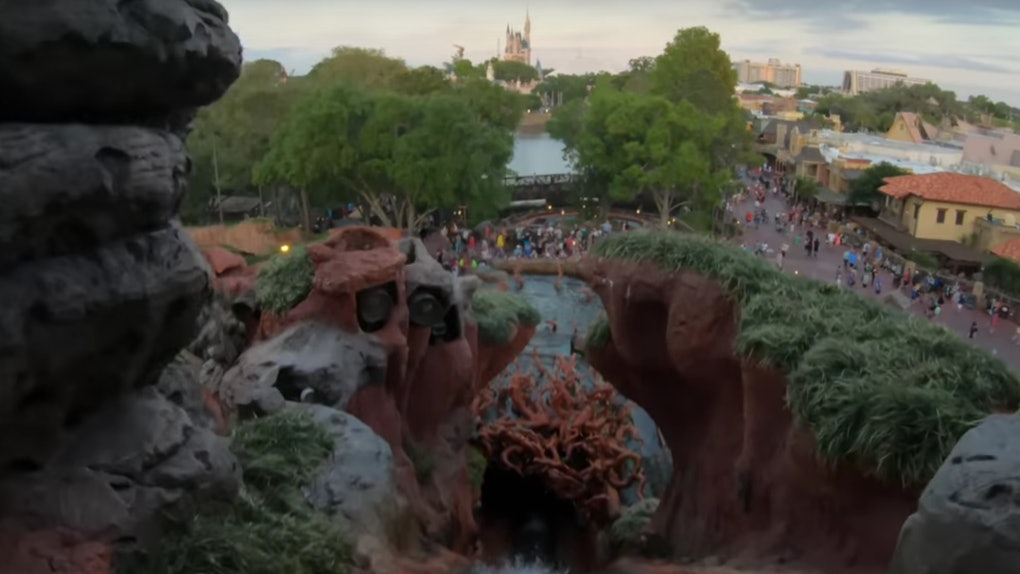 A view from the top of the Splash Mountain ride at Disney World in Florida shows Cinderella's castle.