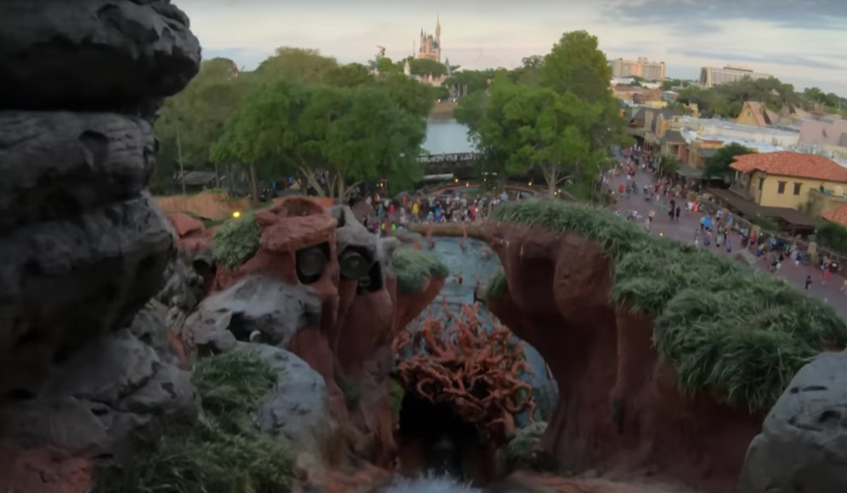 A view from the top of the Splash Mountain ride at Disney World in Florida shows Cinderella's castle...
