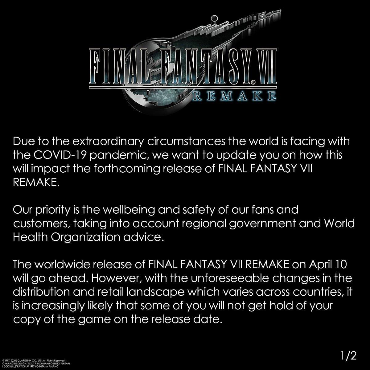 Final Fantasy 7 Remake Delayed Coronavirus Causes Release Date Concerns