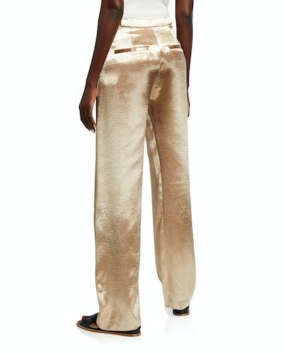 Metallic Wide Leg Pants