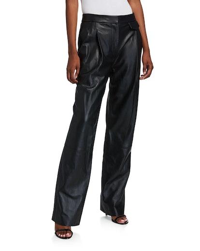Full Length Leather Wide-Leg Pants
