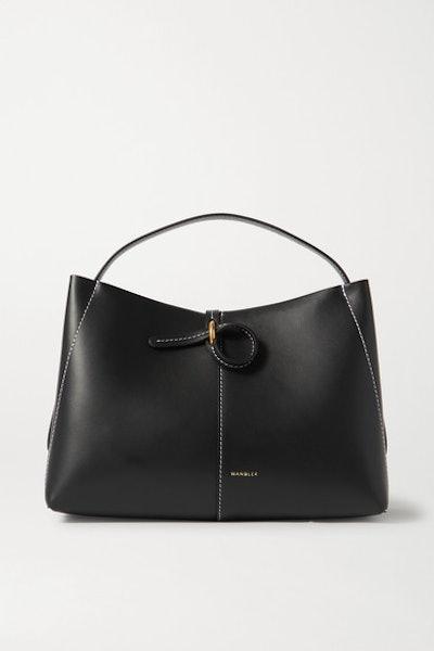 Ava Mini Leather Tote - Black/White Stitching