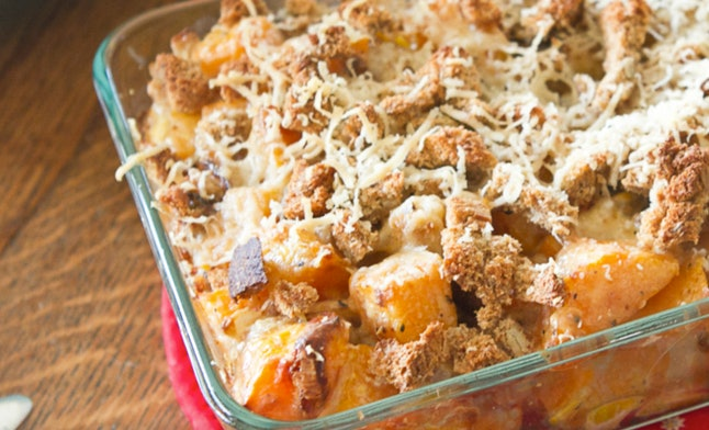 Turn butternut squash into a delicious casserole with cheese and seasonings.