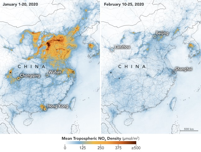 Pollution in China before and after quarantine.