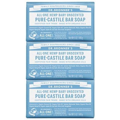 Dr. Bronner's Unscented Pure-Castile Bar Soap (3 Pack)