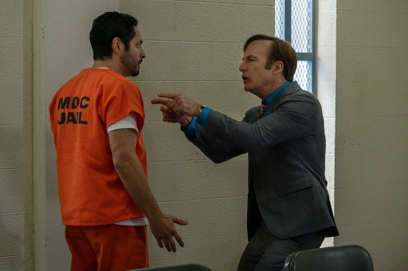 """Max Arciniega as Domingo """"Krazy-8"""" and Bob Odenkirk as Saul Goodman in Better Call Saul"""