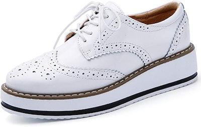 DADAWEN Women's Platform Lace-Up Oxford Shoes