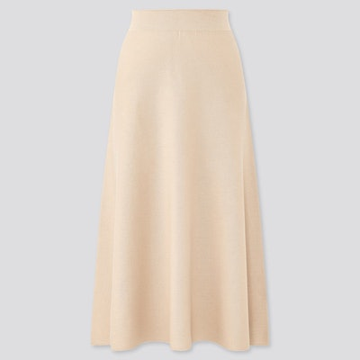 3D Cotton Flare Midi Skirt