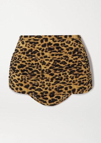 Bill Ruched Leopard Print Bikini Briefs