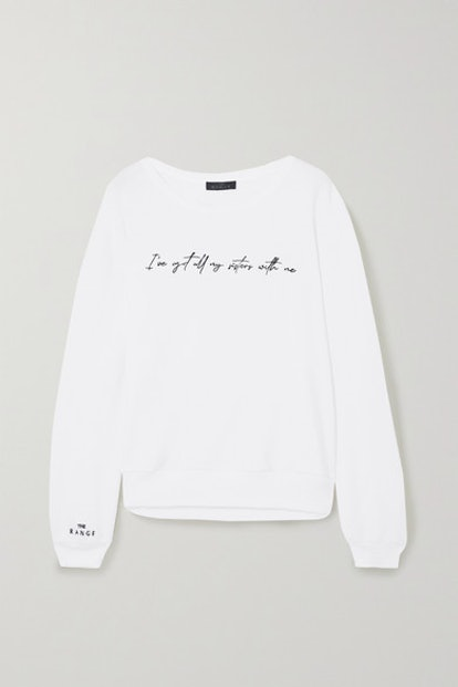 + International Women's Day embroidered cotton-blend terry sweatshirt