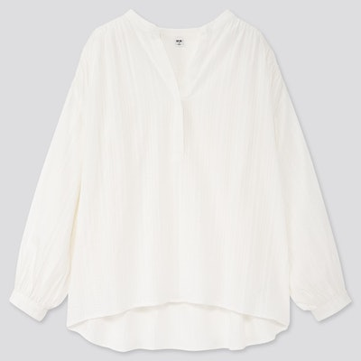 Cotton Dobby Long-Sleeve Blouse
