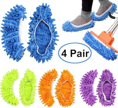 Bontip Dust Mop Slippers (4-Pairs)