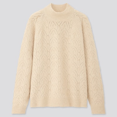 Light Souffle Yarn Pointelle Crew Neck Sweater