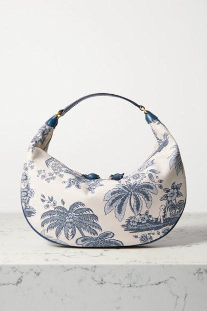 Sasha leather-trimmed printed cotton-canvas shoulder bag