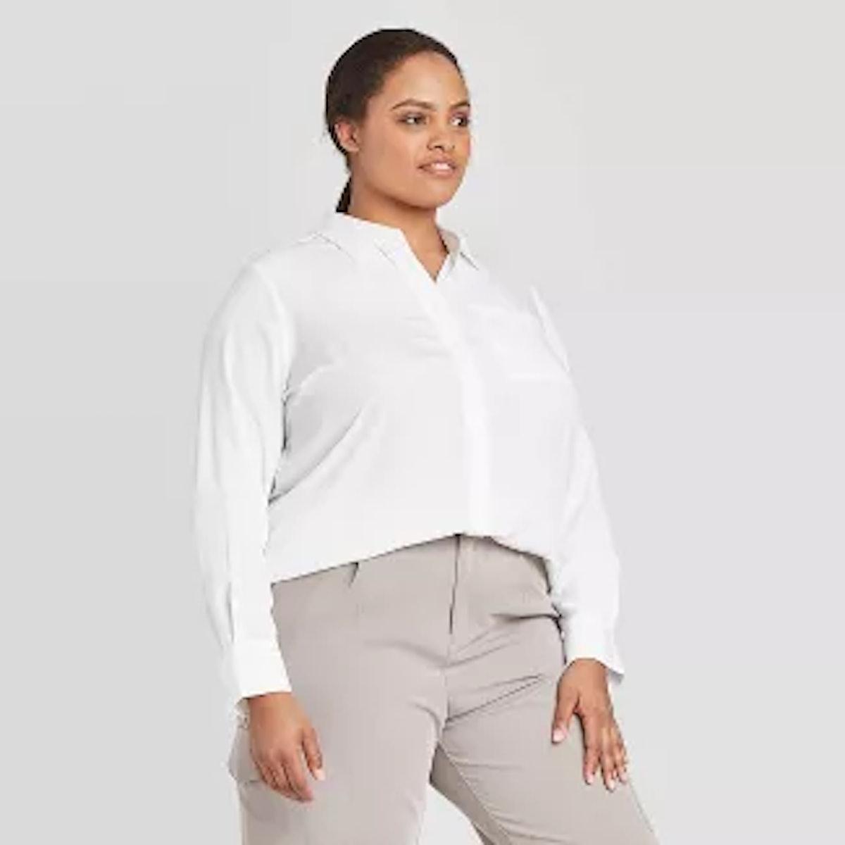 Prologue Women's Plus Size Long Sleeve Essential Button-Down Blouse