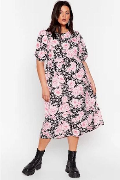 Nasty Gal Rock the Bloom Plus Midi Dress