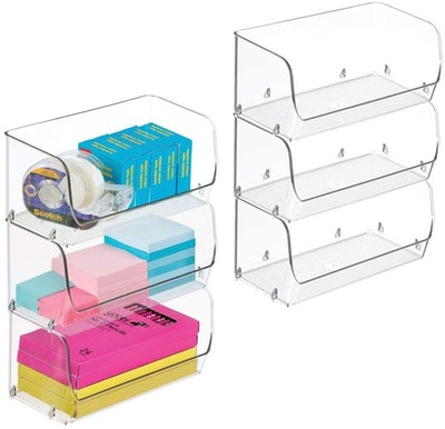 mDesign Plastic Stackable Bins (6-Pack)