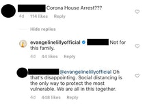 "Actress Evangeline Lilly wrote that her family would not be on ""house arrest"" when it comes to coronavirus containment efforts."