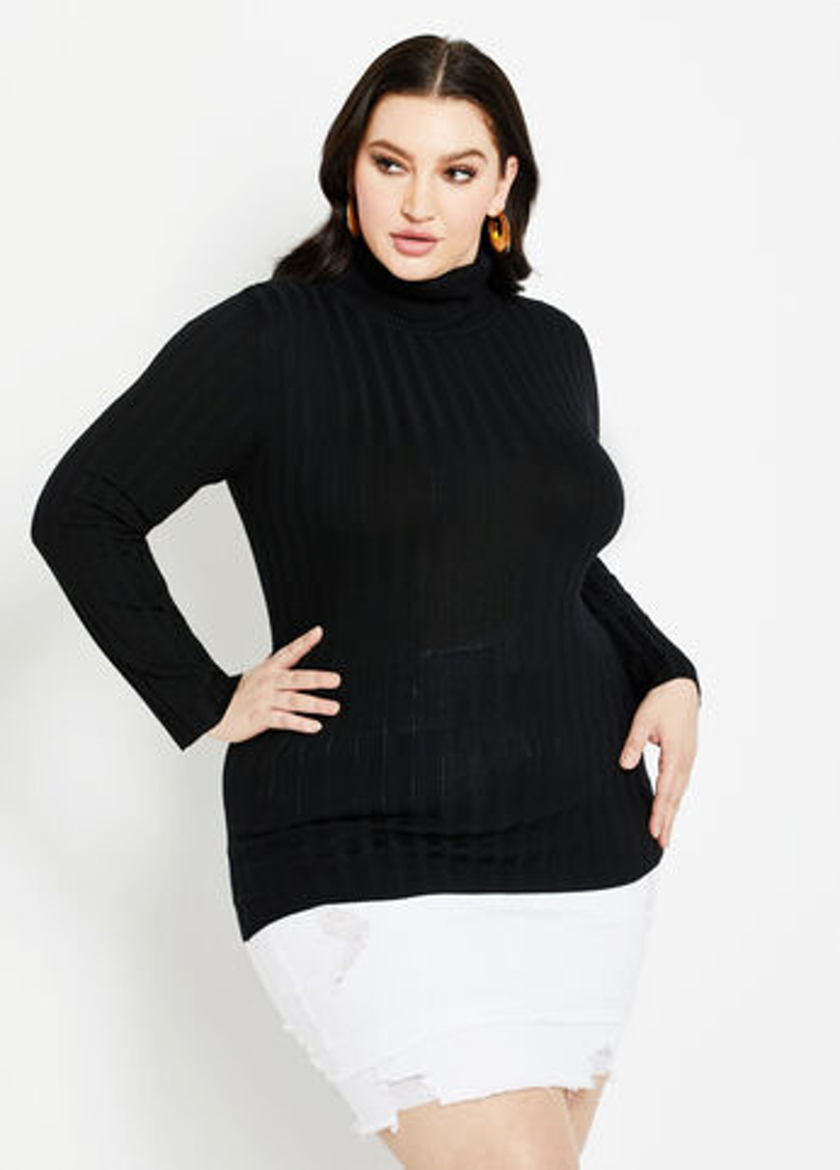 Ashley Stewart Classic Rib Knit Turtleneck Sweater