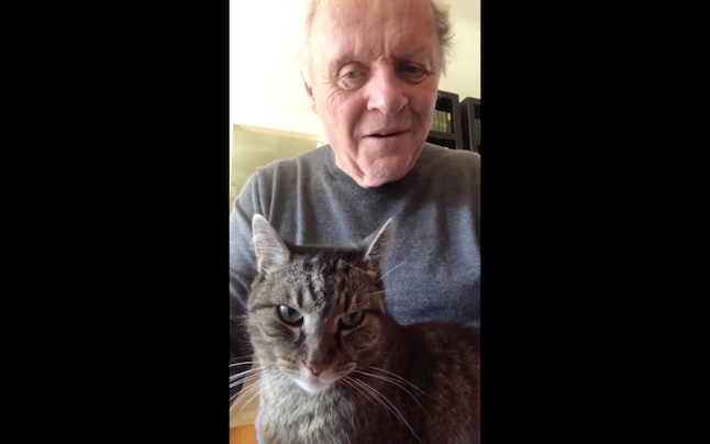 Anthony Hopkins plays piano with his cat on his lap.