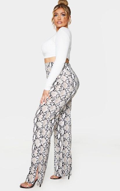 PrettyLittleThing Plus Taupe Snake Print Straight Leg Pants