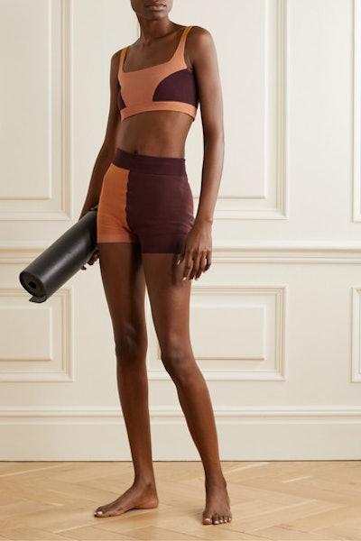 + NET SUSTAIN color-block technical-knit stretch-organic cotton sports bra
