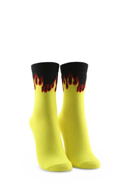 Forever 21 Flame Graphic Crew Socks