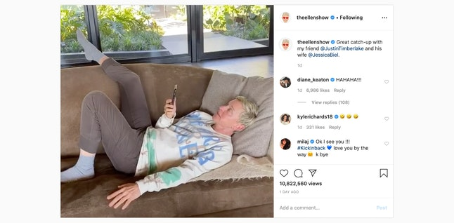 Ellen DeGeneres cold-calls John Legend and Chrissy Teigen from her couch.