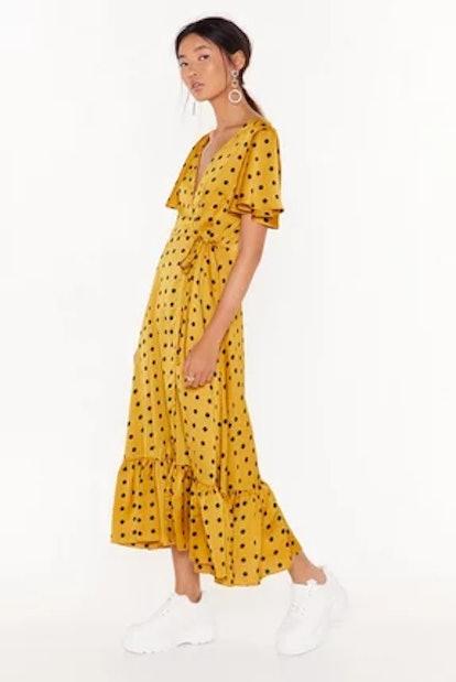 Nasty Gal It's Dot Over Satin Midi Dress