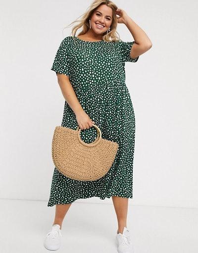Wednesday's Girl Curve Midi Dress In Smudge Polka Dot