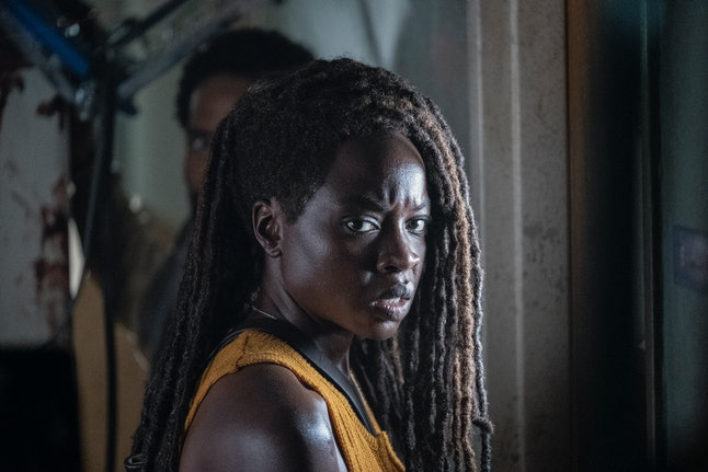 Danai Gurira as Michonne and Kevin Carroll as Virgil in The Walking Dead