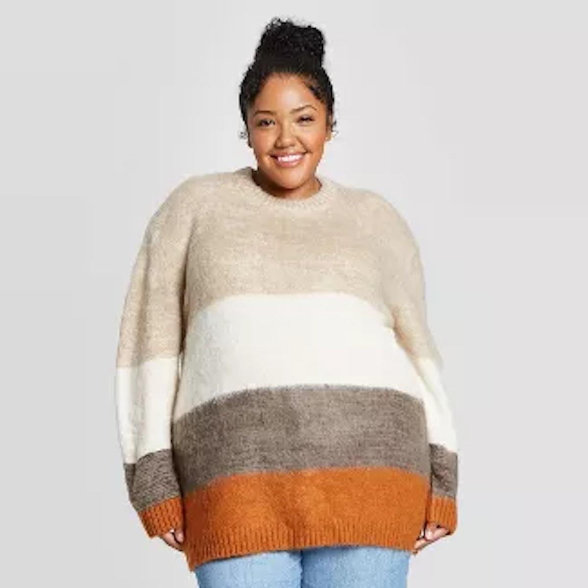 Universal Thread Women's Plus Size Brush Striped Crewneck Tunic Sweater