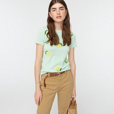 Short-sleeve cashmere T-shirt in lemon print