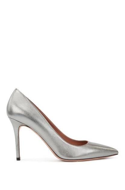 High-heeled pumps in metallic Italian leather