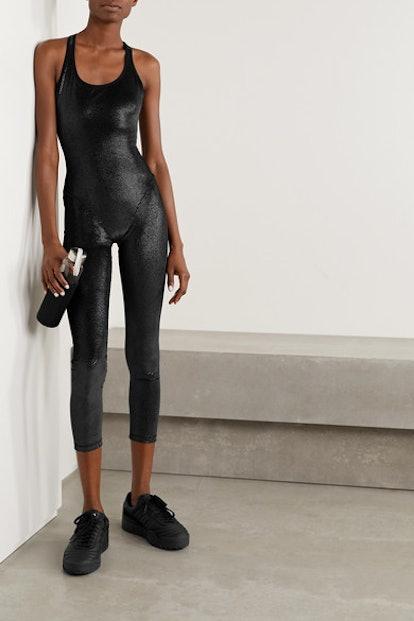 Cutout printed stretch-velvet jumpsuit