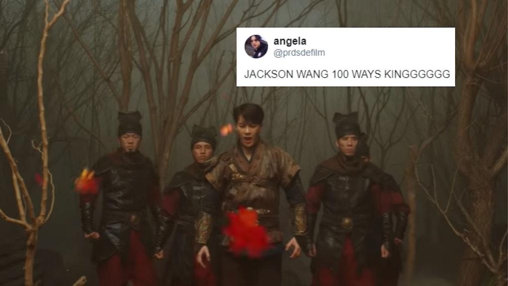 "A screenshot from Jackson Wang's ""100 Ways"" music video. These tweets about Jackson Wang's ""100 Ways"" video are such a mood."