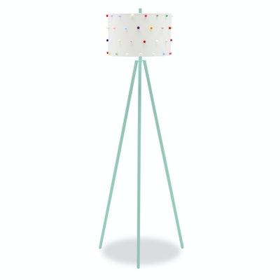 Drew Barrymore For Kids Rainbow Dots Shade With Mint Chip Tripod Floor Lamp