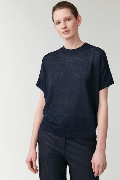Shaped Linen-Silk Knit Top