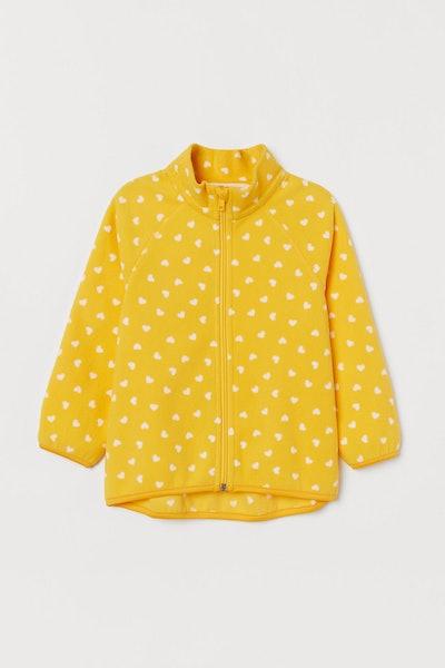Fleece Jacket Yellow Hearts