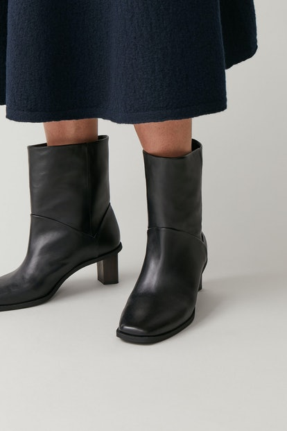 Leather Boots with Tilted Heel