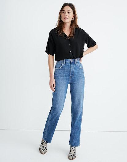 Tab-Waist Highest-Rise Straight Jeans
