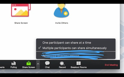 Multiple people within a video conference can share their screens at the same time using Zoom.