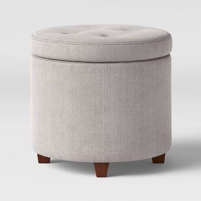 Threshold Round Tufted Storage Ottoman Textured Weave Gray