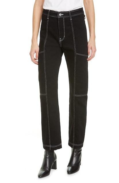 Paneled Straight Leg Jeans